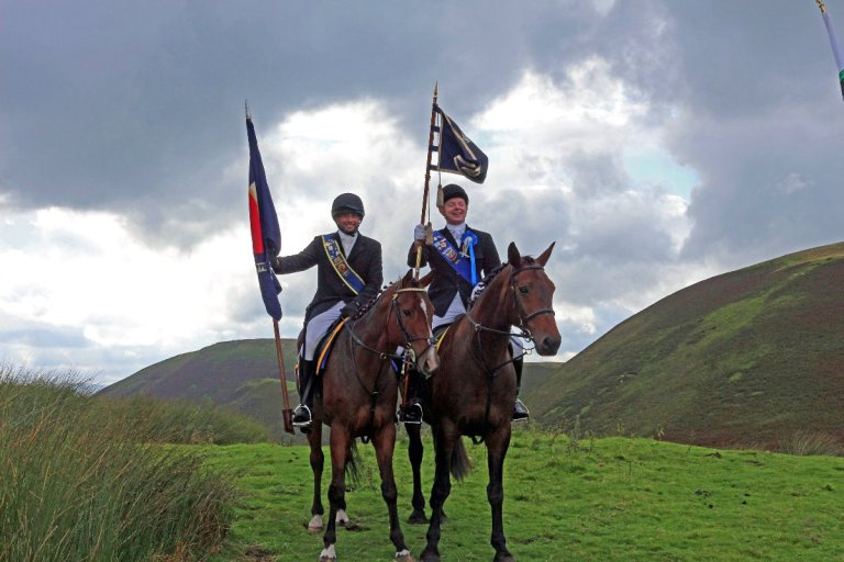Annandale and Nithsdale United - Annan Standard Bearer, Connan Johnstone and Dumfries Cornet Ross Hyslop.....a powerful moment seeing them up in those hills.